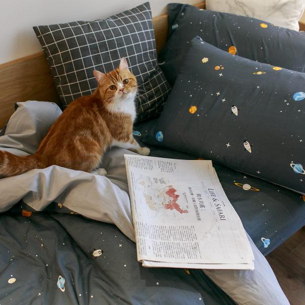 遨遊宇宙 K2 雙人King Size床包薄被套四件組  純精梳棉  台灣製