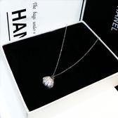 618好康鉅惠韓版同款珍珠鑲鉆貝殼吊墜短項鍊