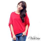 Victoria 雪紡拼接落肩短袖線衫-女-珊瑚紅