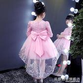 女童連身裙小女孩洋氣公主裙子兒童長袖蓬蓬紗裙 『名購居家』