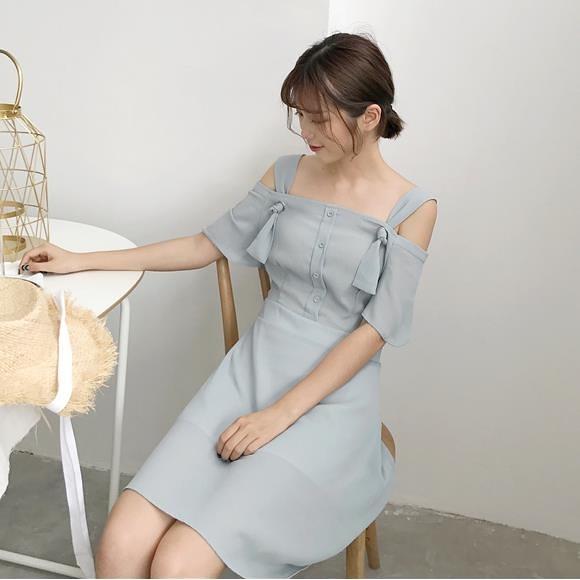 [超豐國際]夏季寬松純色中長款短袖雪紡裙子百搭顯瘦氣質連衣裙1入