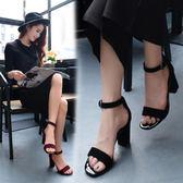 一字扣帶中跟粗跟涼鞋女OL職業女鞋黑色露趾涼鞋羅馬鞋    蘑菇街小屋