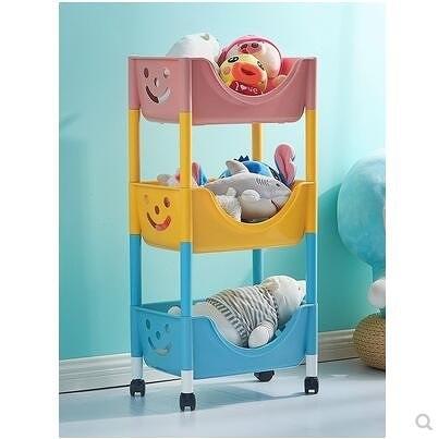 兒童玩具收納架臥室可移動置物架落地帶輪推車零食儲物架