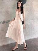 蕾絲洋裝 韓版百搭chic中長款蕾絲吊帶連衣裙女2021流行夏天裙子仙女裙 歐歐