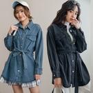 現貨-MIUSTAR 雜誌感綁帶厚磅牛仔襯衫(共2色)【NJ0138】