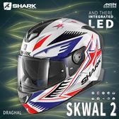 [中壢安信]法國 SHARK SKWAL 2 彩繪 DRAGHAL 白藍紅 新版 LED 全罩 安全帽 定位燈 夜間燈