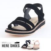 [Here Shoes]涼鞋-MIT台灣製 跟高2.5cm 一字涼拖鞋 魔鬼氈好穿脫 純色 中性 百搭-KDWA706