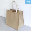 【P255】shiny藍格子-時尚簡約.清新麻布亞麻手提袋子
