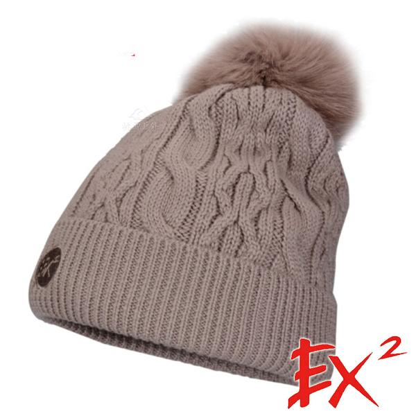 【 EX2 】針織保暖圓帽『駝灰』366102 戶外.針織帽.造型帽.毛帽.帽子.禦寒.防寒.保暖