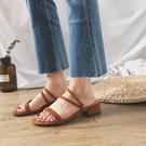百搭細帶方跟涼鞋夏季新款露趾兩穿氣質小方頭涼拖鞋女 ciyo黛雅