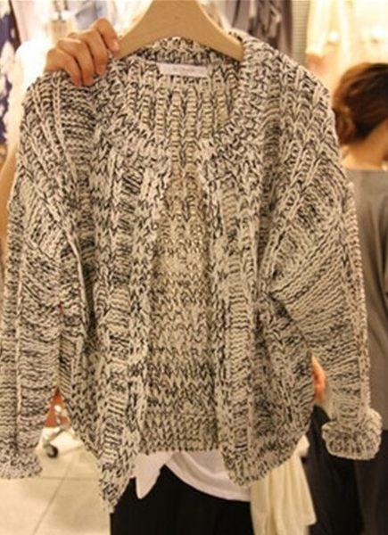圓領寬鬆線衣厚款毛衣外套