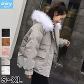 【V9135】shiny藍格子-入冬暖意.大毛領麵包服保暖棉襖外套
