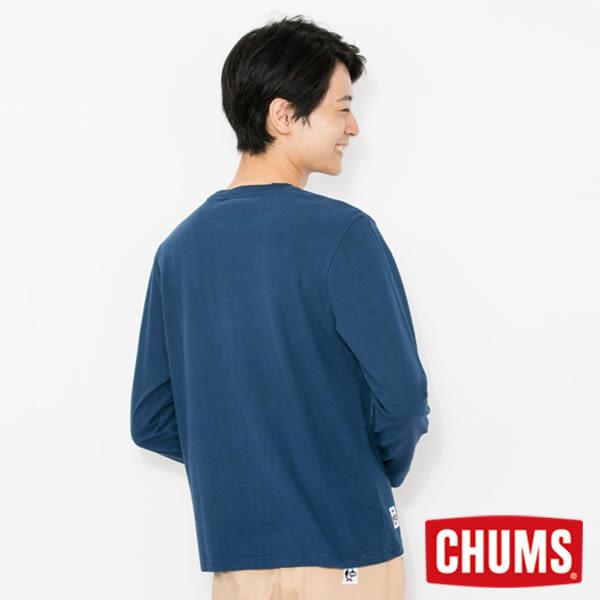 CHUMS 日本 男 LOGO 長袖圓領T恤 深藍 CH011284N001