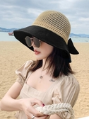 太陽帽 帽子女韓版潮百搭遮陽帽防曬編制鏤空沿遮臉日系防護漁夫帽女夏天 宜品