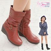 中筒靴.百搭反摺扣環 真皮內側拉鍊楔型中靴.黑紅棕~鞋鞋俱樂部~~189 CD011 ~