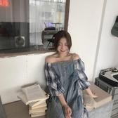 新品性感一字肩格子牛仔拼接洋裝夏寬鬆短裙女 - 歐美韓熱銷
