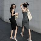 露背吊帶洋裝女夏性感顯瘦黑色背心長裙氣質修身裙子開叉小黑裙 錢夫人小舖