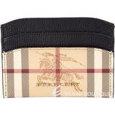 BURBERRY Haymarket 格紋皮革卡片夾(黑色) 1820345-01