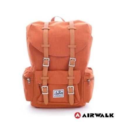 Backbager 背包族【美國 AIRWALK】學院風 抽繩束口袋 筆電後背包(小)-橘色