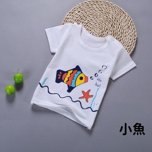 短袖上衣 棉質卡通 透氣T恤 肩開嬰兒服 男女寶寶童裝 HY00816 好娃娃