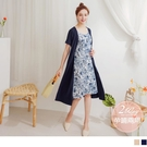 《MA0437》孕哺兩用~優雅印花假兩件式洋裝 OrangeBear