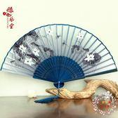 扇子絲藝堂日式摺扇中國風女式扇子絹扇櫻花和風工藝古風折疊小扇女扇