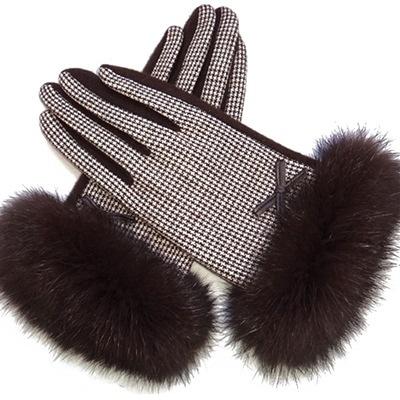 觸控羊毛女手套-氣質搖粒千鳥格防寒保暖時尚配件三色72h25[巴黎精品]