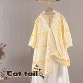 《貓尾巴》JP-03647 簡約款V領裝單排扣短袖上衣(森林系 日系 棉麻 文青 清新)