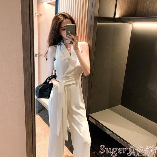連體褲 2021新款闊腿褲工裝連體褲套裝女潮夏裝高腰顯瘦氣質垂感 白色 suger