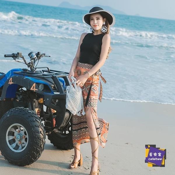 一片式沙灘裙 波西米亞沙灘裙民族風復古半長裙一片式高腰開叉泰國花半身裙子女