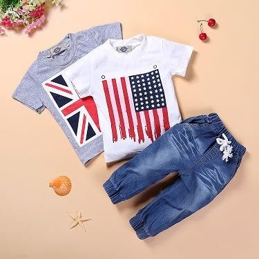 國旗牛仔童套裝 男童短袖三件 夏裝新款童套裝- 預購