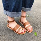 韓版夏新款網紅涼鞋女chic鞋子復古百搭羅馬學生平底沙灘鞋潮  檸檬衣舍