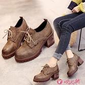 英倫風女鞋 中跟復古小皮鞋單鞋2021新款鞋子百搭英倫風粗跟高跟鞋女鞋春季秋 小天使