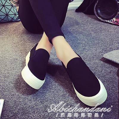 春季帆布鞋女樂福鞋厚底學院低幫懶人一腳蹬白色休閒學生板鞋 黛尼時尚精品