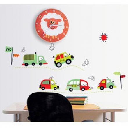 【半島良品】壁貼 DIY創意無痕 牆貼 貼紙-ㄅㄨㄅㄨ車 50x70_AY7012
