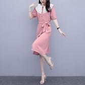 襯衫洋裝 大碼女裝夏季胖mm減齡甜美顯瘦法式連身裙仙女中長款襯衫裙 JX1940『優童屋』