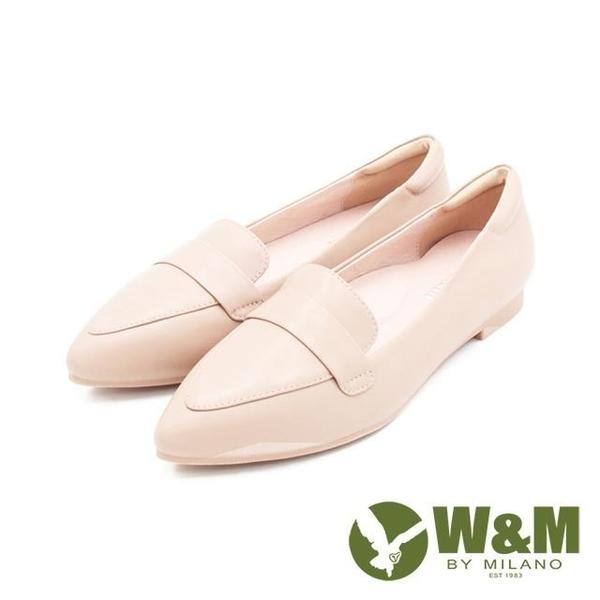 【南紡購物中心】W&M(女)素面尖頭淑女莫卡辛鞋 女鞋-杏(另有黑)