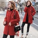 大衣 2021年新款流行楓葉紅呢子大衣女韓版寬鬆秋冬季外套女