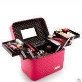 格紋玫紅四開特大號大容量化妝包多功能方袋便攜手提收納盒簡約化妝品箱  JN