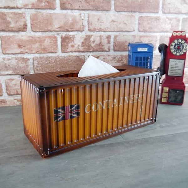 貨櫃面紙盒金屬鐵製仿真模型抽取式衛生紙盒擦手紙盒 loft工業風餐廳店面裝飾置物盒-米鹿家居