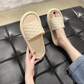 拖鞋女夏外穿一字拖夏季厚底踩屎感涼拖鞋子潮【貼身日記】