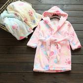 兒童浴袍法蘭絨小孩女寶寶夏季男孩睡衣男童女童珊瑚絨睡袍IP640『寶貝兒童裝』