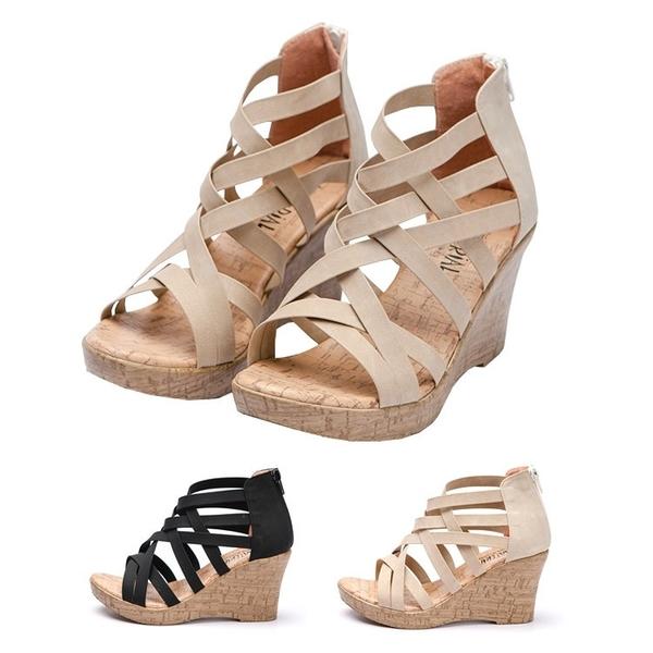 涼鞋.MIT多層次皮革羅馬仿木紋楔型涼鞋.黑/米【鞋鞋俱樂部】【023-860】