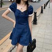 牛仔洋裝 牛仔洋裝女夏季泡泡袖收腰顯瘦a字短裙子 衣櫥秘密