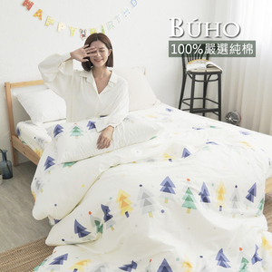 BUHO 天然嚴選純棉雙人四件式床包被套組(彩色森城)