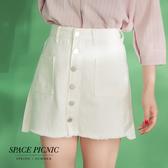 單寧 短裙 Space Picnic|排扣雙口袋單寧牛仔短裙(現貨)【C19042082】