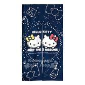 〔小禮堂〕Hello Kitty 棉麻長門簾《深藍.星空.mimmy》85x150cm.窗簾 4715676-65805