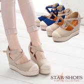 STAR SHOES 日系簡約帆布交叉環裸楔型鞋