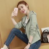 出清388 韓系簡約寬松連帽背後字母夾克單品外套