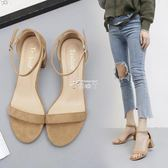 涼鞋女夏新款女鞋百搭一字扣小清新高跟鞋夏季中跟潮粗跟 俏腳丫